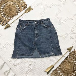 Topshop Moto Denim Skirt With Front Slit